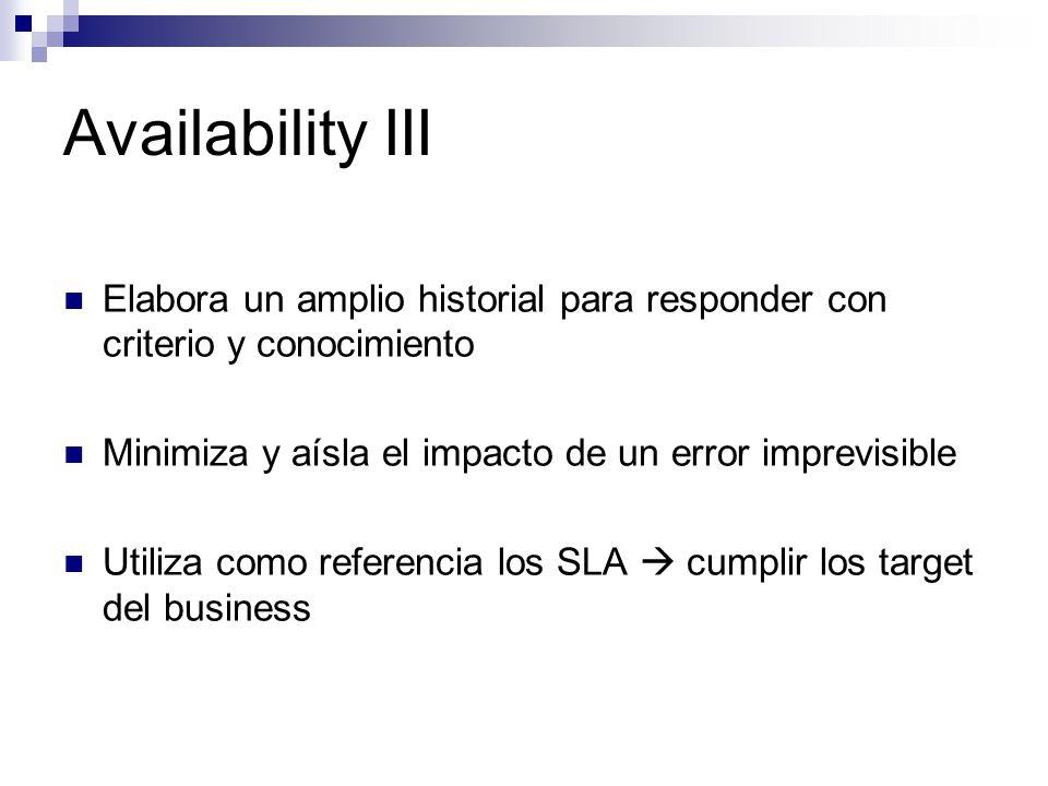 Availability III Elabora un amplio historial para responder con criterio y conocimiento. Minimiza y aísla el impacto de un error imprevisible.