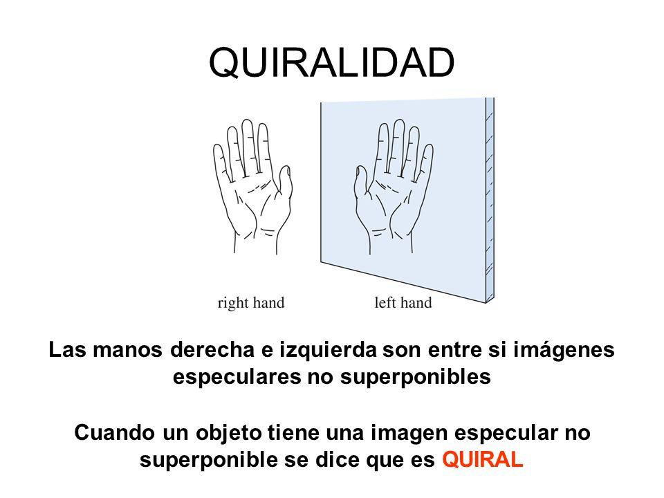 QUIRALIDAD Las manos derecha e izquierda son entre si imágenes especulares no superponibles.
