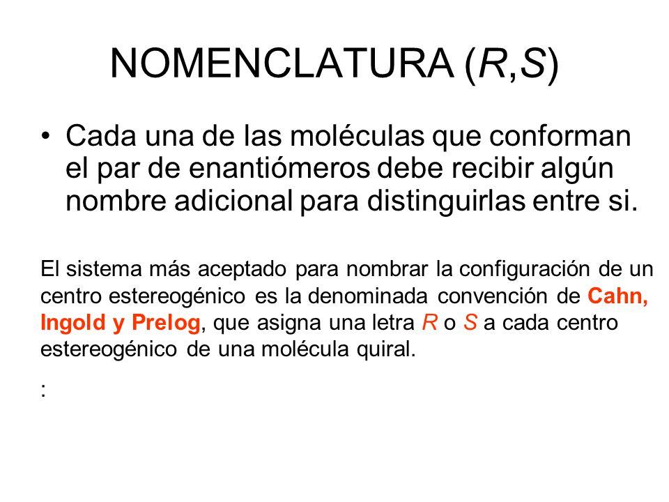 NOMENCLATURA (R,S) Cada una de las moléculas que conforman el par de enantiómeros debe recibir algún nombre adicional para distinguirlas entre si.