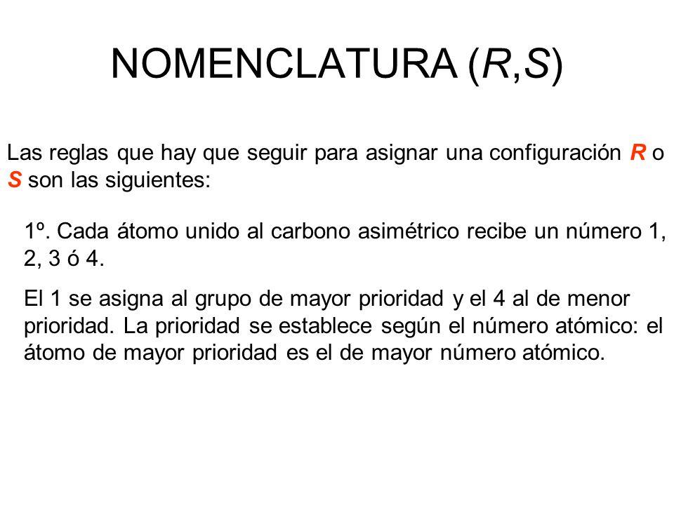 NOMENCLATURA (R,S) Las reglas que hay que seguir para asignar una configuración R o S son las siguientes: