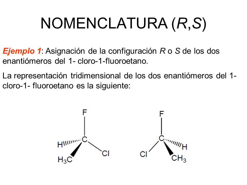 NOMENCLATURA (R,S) Ejemplo 1: Asignación de la configuración R o S de los dos enantiómeros del 1- cloro-1-fluoroetano.