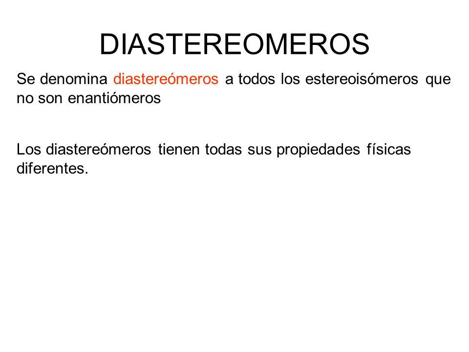 DIASTEREOMEROS Se denomina diastereómeros a todos los estereoisómeros que no son enantiómeros.