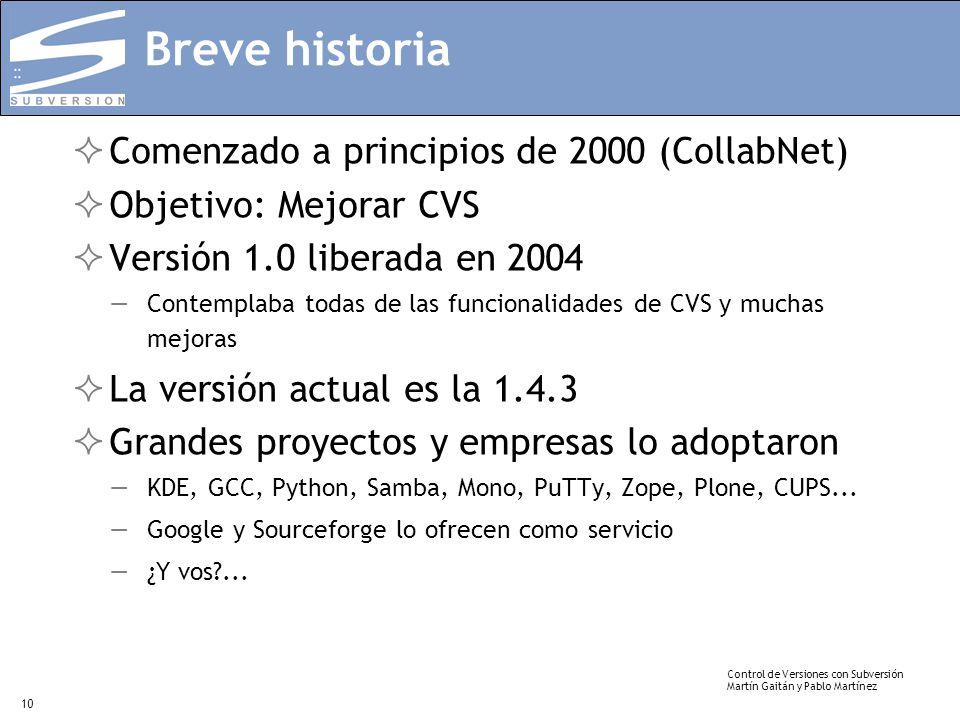 Breve historia Comenzado a principios de 2000 (CollabNet)