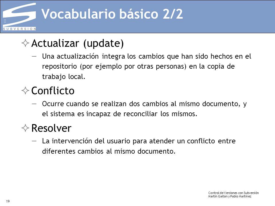 Vocabulario básico 2/2 Actualizar (update) Conflicto Resolver