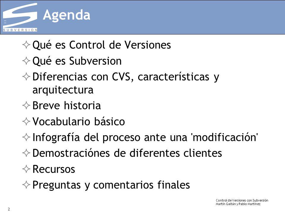 Agenda Qué es Control de Versiones Qué es Subversion