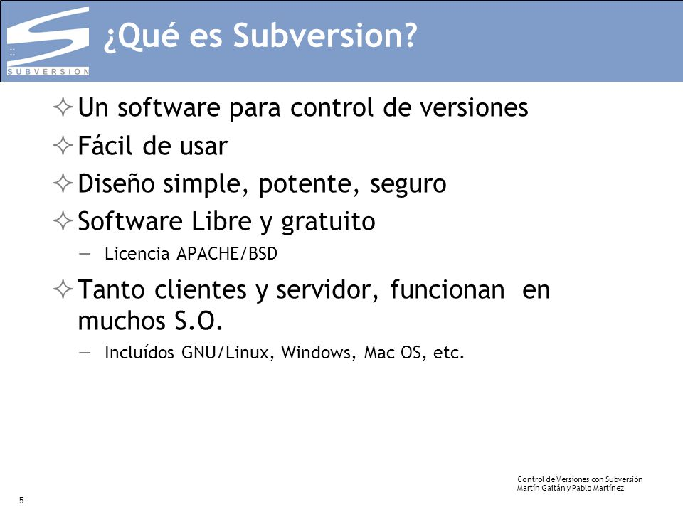 ¿Qué es Subversion Un software para control de versiones