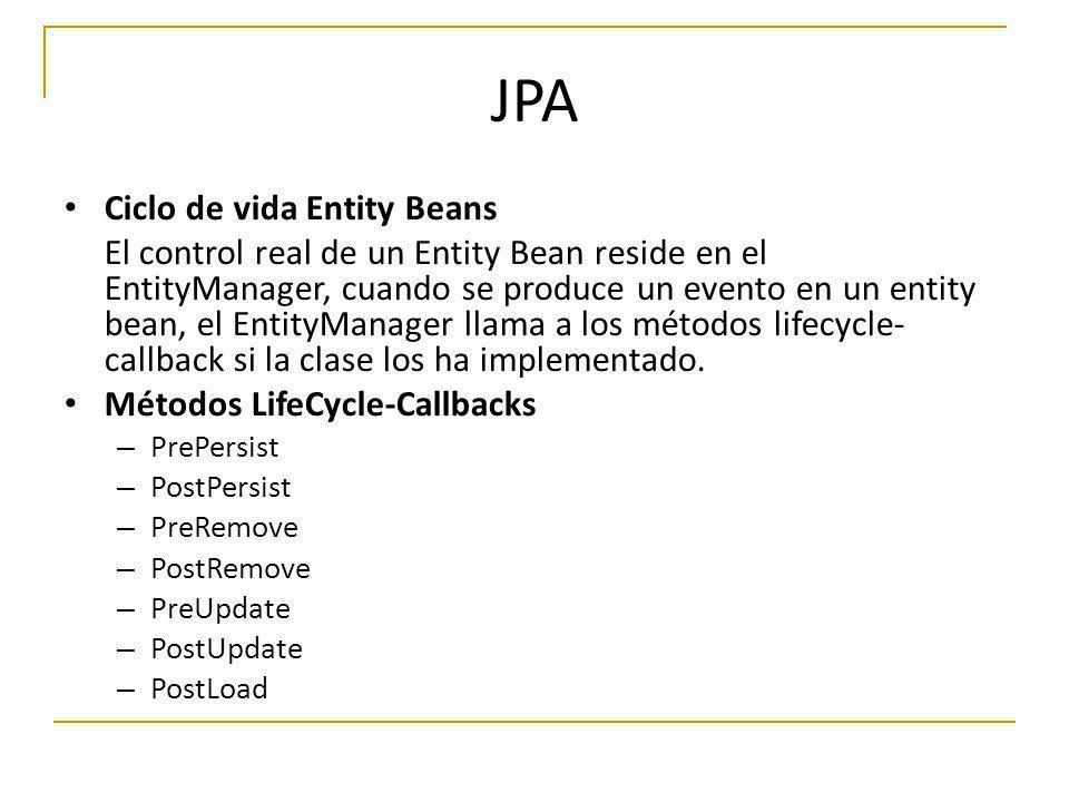JPA Ciclo de vida Entity Beans