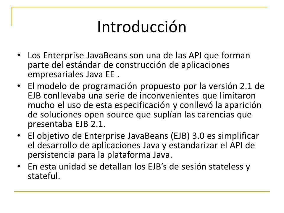 Introducción Los Enterprise JavaBeans son una de las API que forman parte del estándar de construcción de aplicaciones empresariales Java EE .