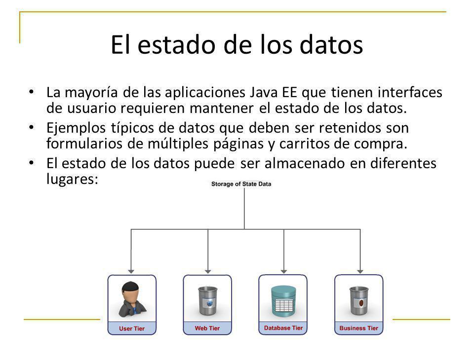 El estado de los datos La mayoría de las aplicaciones Java EE que tienen interfaces de usuario requieren mantener el estado de los datos.