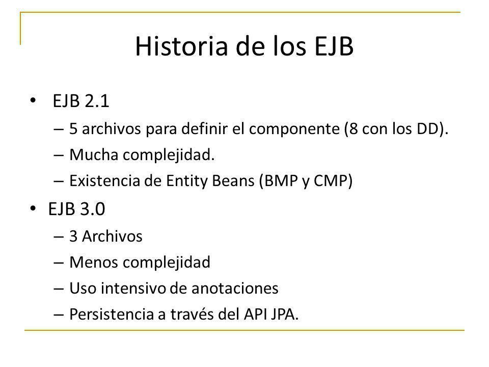 Historia de los EJB EJB 2.1 EJB 3.0
