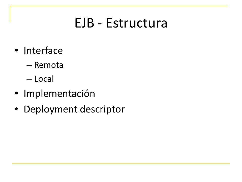EJB - Estructura Interface Implementación Deployment descriptor Remota