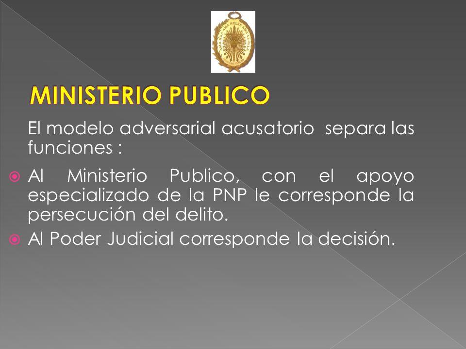 MINISTERIO PUBLICO El modelo adversarial acusatorio separa las funciones :