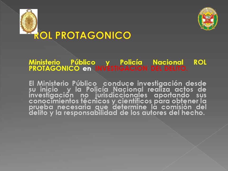 ROL PROTAGONICO Ministerio Público y Policía Nacional ROL PROTAGONICO en INVESTIGACION DEL DELITO.