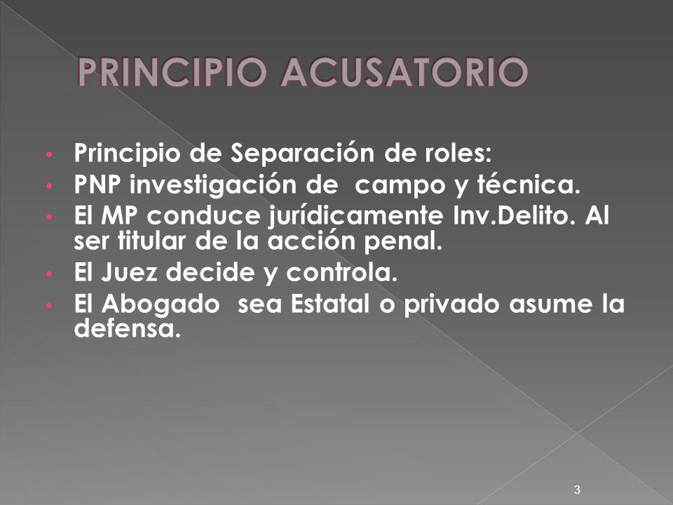 PRINCIPIO ACUSATORIO Principio de Separación de roles: