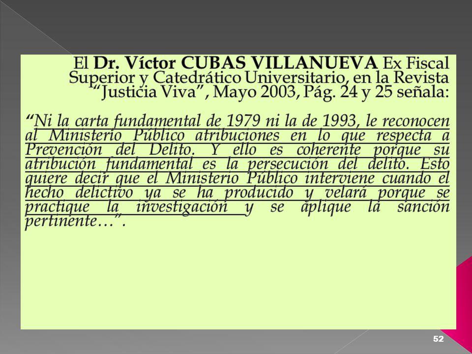 El Dr. Víctor CUBAS VILLANUEVA Ex Fiscal Superior y Catedrático Universitario, en la Revista Justicia Viva , Mayo 2003, Pág. 24 y 25 señala: