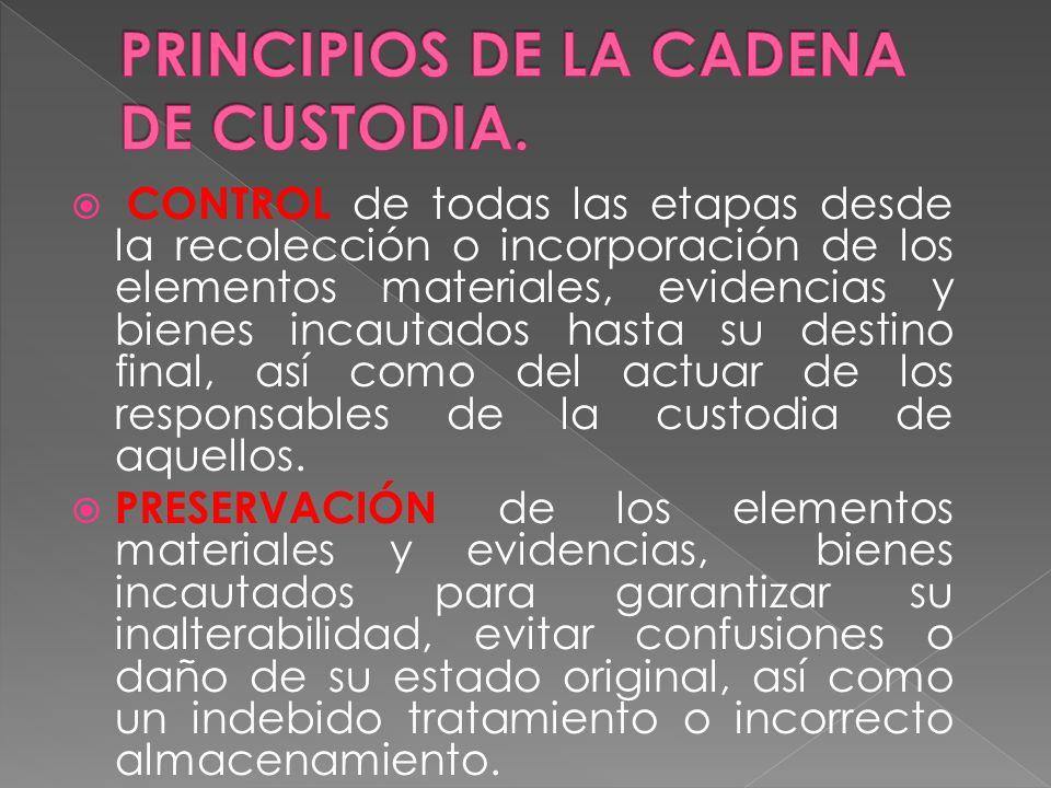 PRINCIPIOS DE LA CADENA DE CUSTODIA.