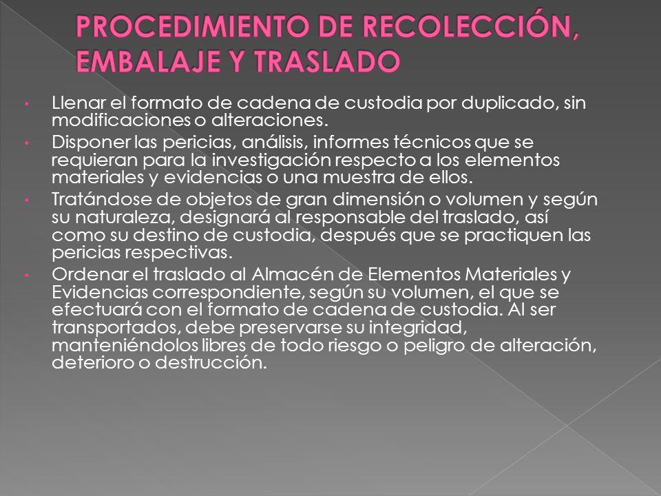 PROCEDIMIENTO DE RECOLECCIÓN, EMBALAJE Y TRASLADO