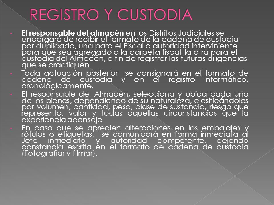 REGISTRO Y CUSTODIA