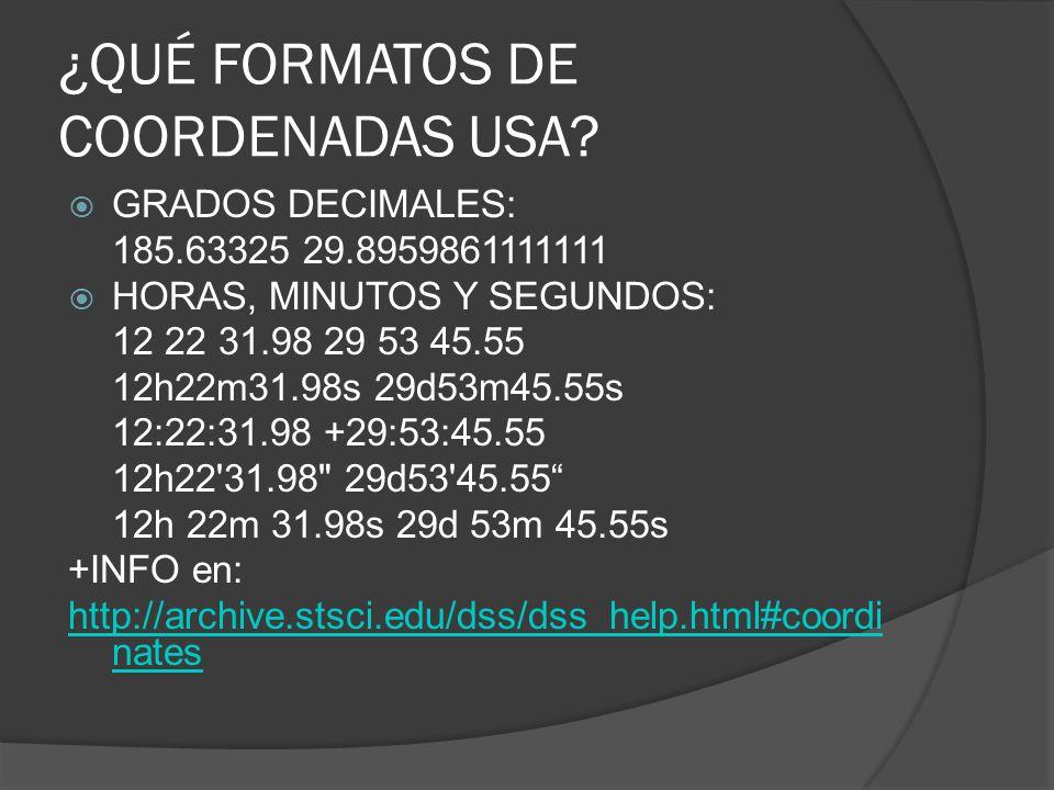 ¿QUÉ FORMATOS DE COORDENADAS USA
