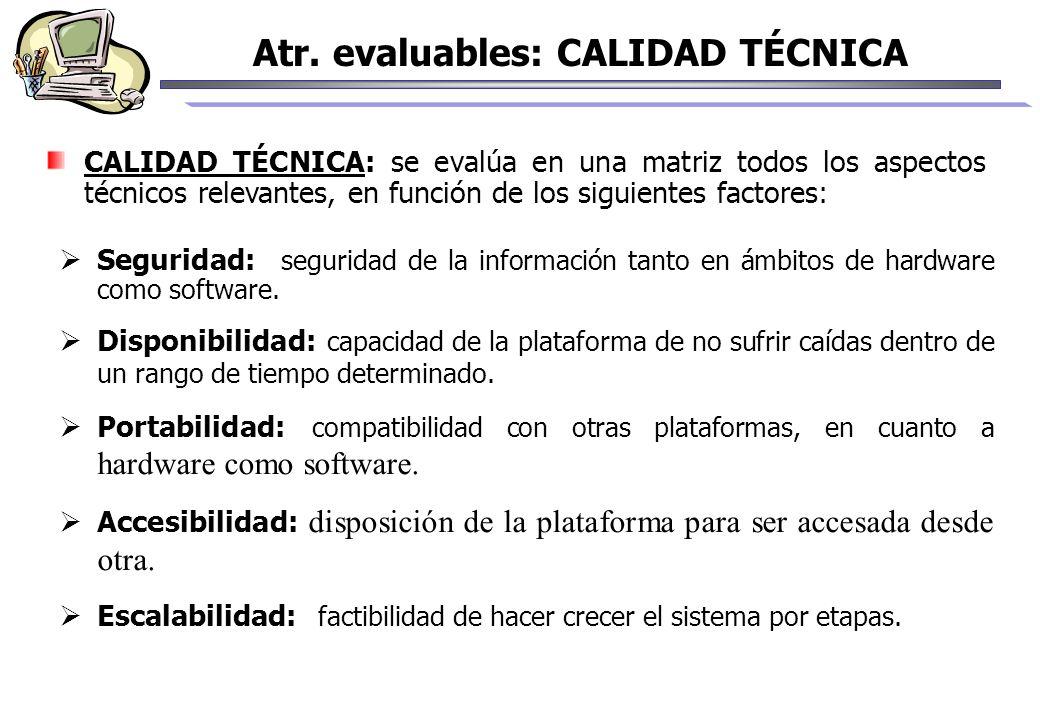 Atr. evaluables: CALIDAD TÉCNICA