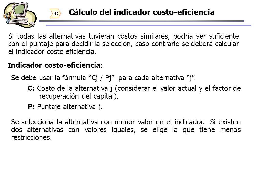Cálculo del indicador costo-eficiencia