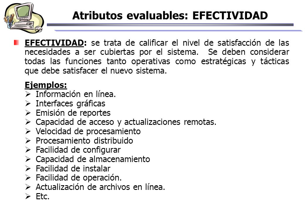 Atributos evaluables: EFECTIVIDAD