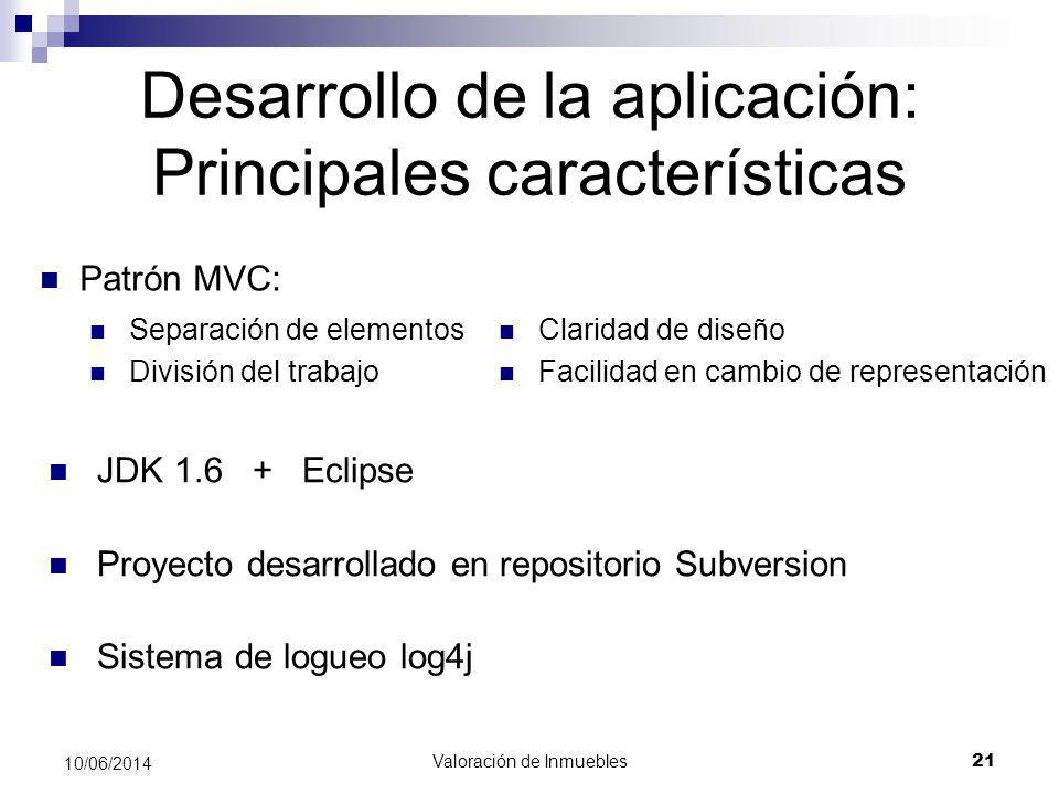 Desarrollo de la aplicación: Principales características