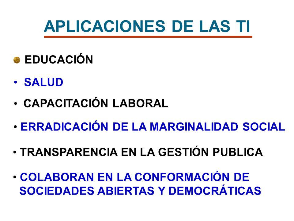 APLICACIONES DE LAS TI EDUCACIÓN SALUD CAPACITACIÓN LABORAL