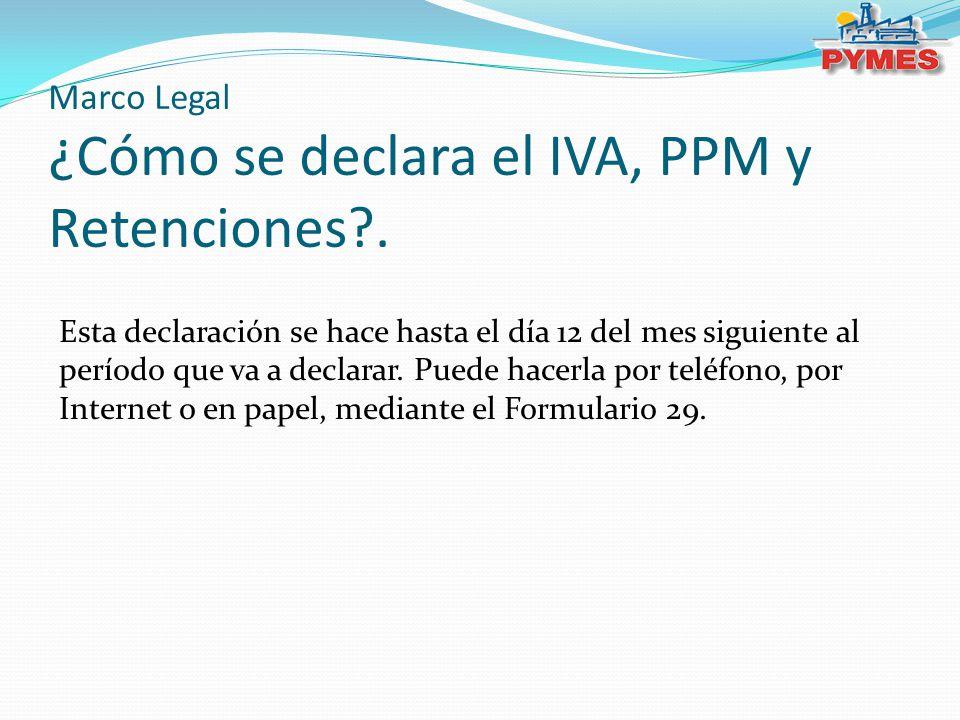 Marco Legal ¿Cómo se declara el IVA, PPM y Retenciones .