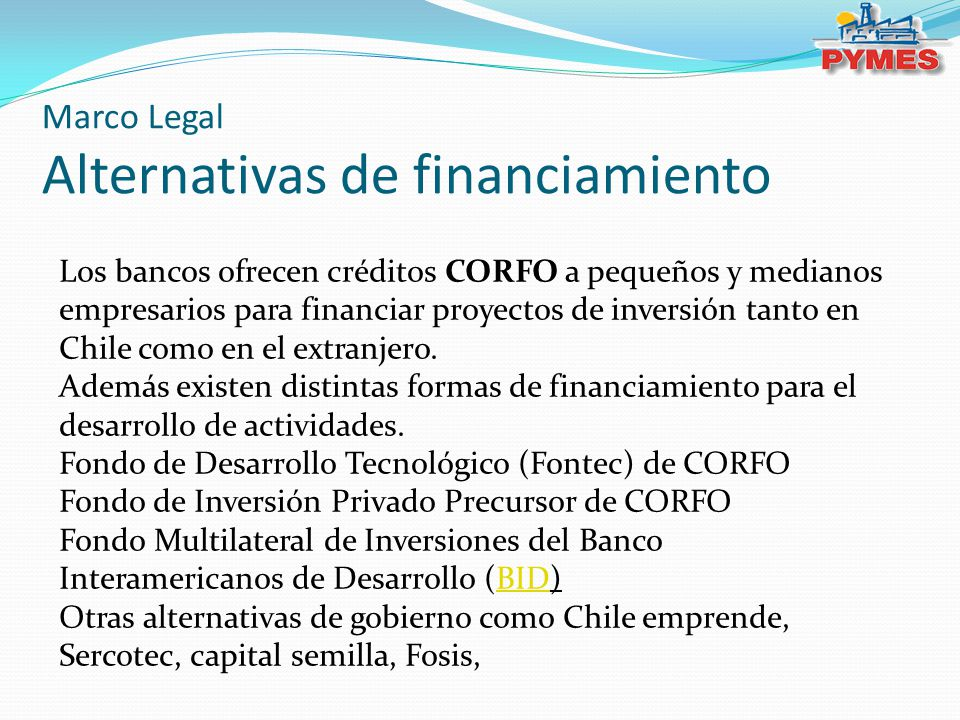 Marco Legal Alternativas de financiamiento