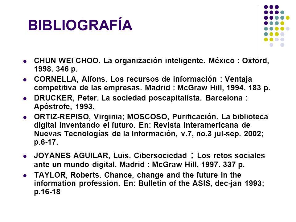 BIBLIOGRAFÍA CHUN WEI CHOO. La organización inteligente. México : Oxford, 1998. 346 p.