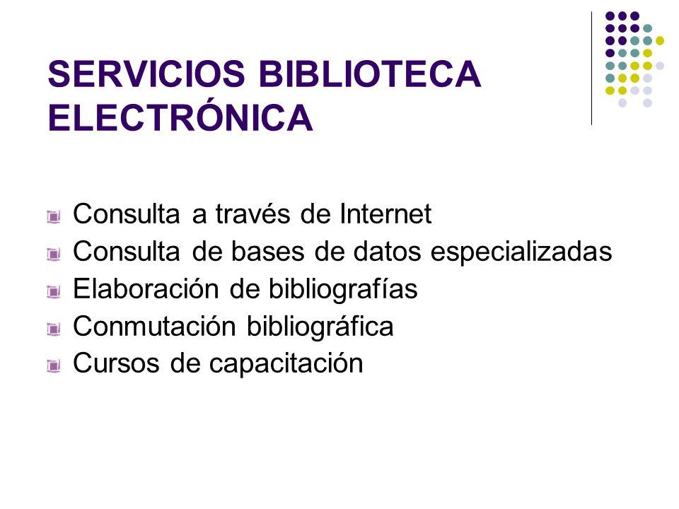 SERVICIOS BIBLIOTECA ELECTRÓNICA