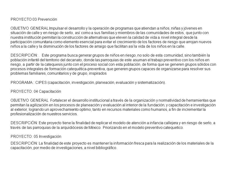 PROYECTO:03 Prevención