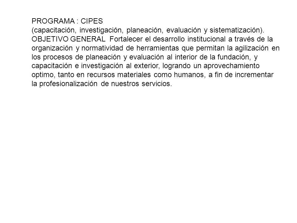 PROGRAMA : CIPES (capacitación, investigación, planeación, evaluación y sistematización).