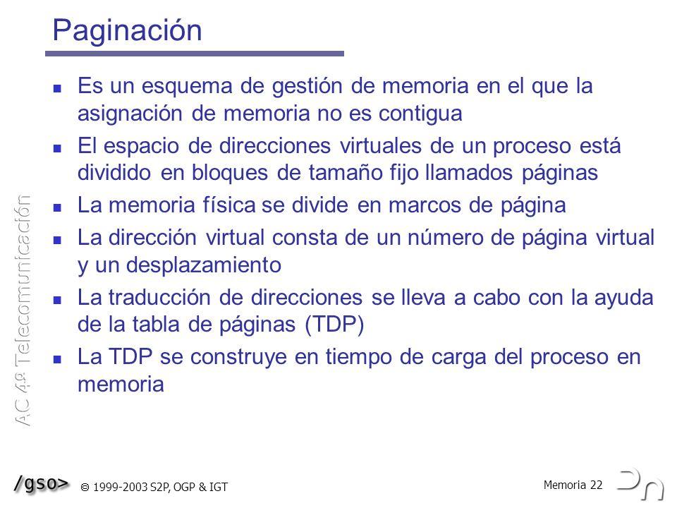 Paginación Es un esquema de gestión de memoria en el que la asignación de memoria no es contigua.