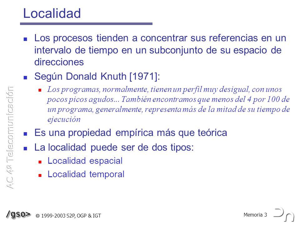 Localidad Los procesos tienden a concentrar sus referencias en un intervalo de tiempo en un subconjunto de su espacio de direcciones.