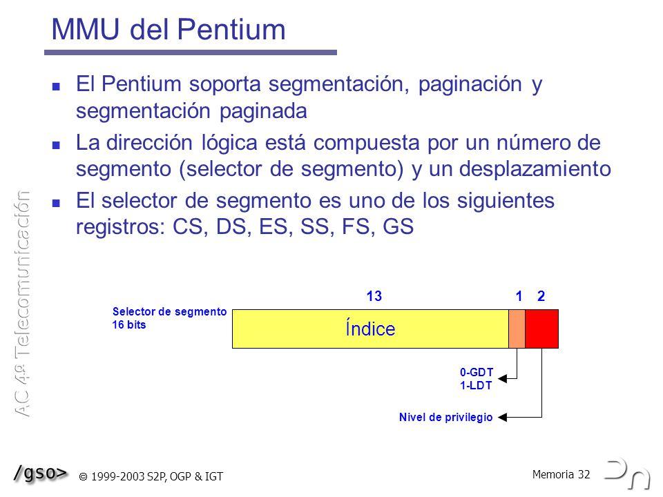 MMU del Pentium El Pentium soporta segmentación, paginación y segmentación paginada.
