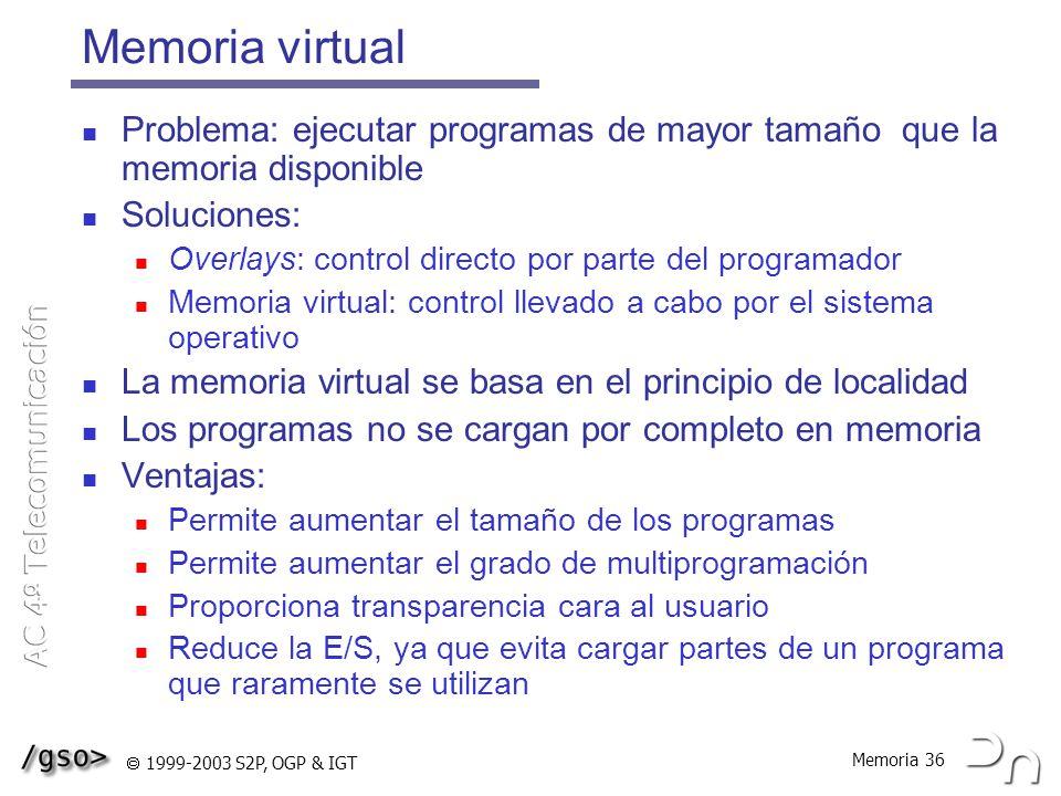 Memoria virtual Problema: ejecutar programas de mayor tamaño que la memoria disponible. Soluciones: