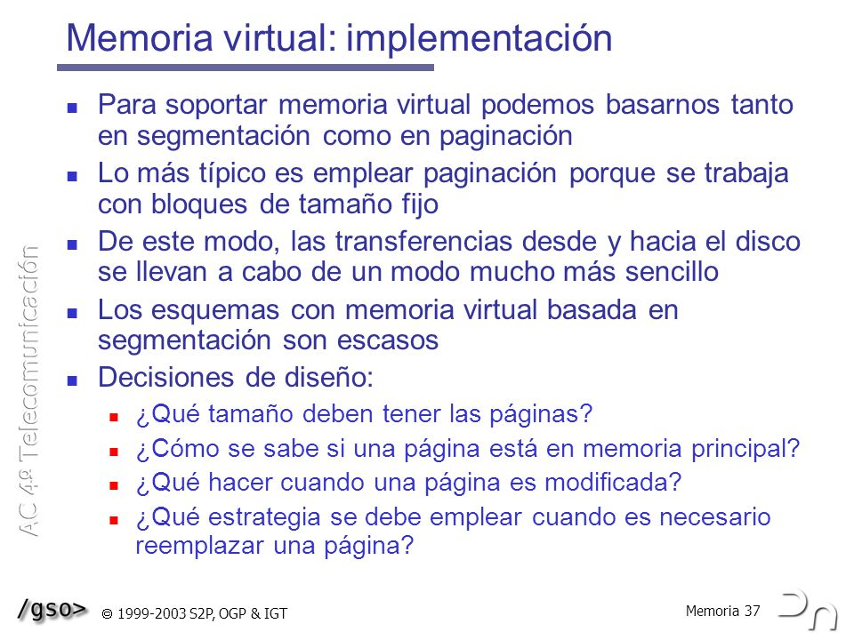 Memoria virtual: implementación