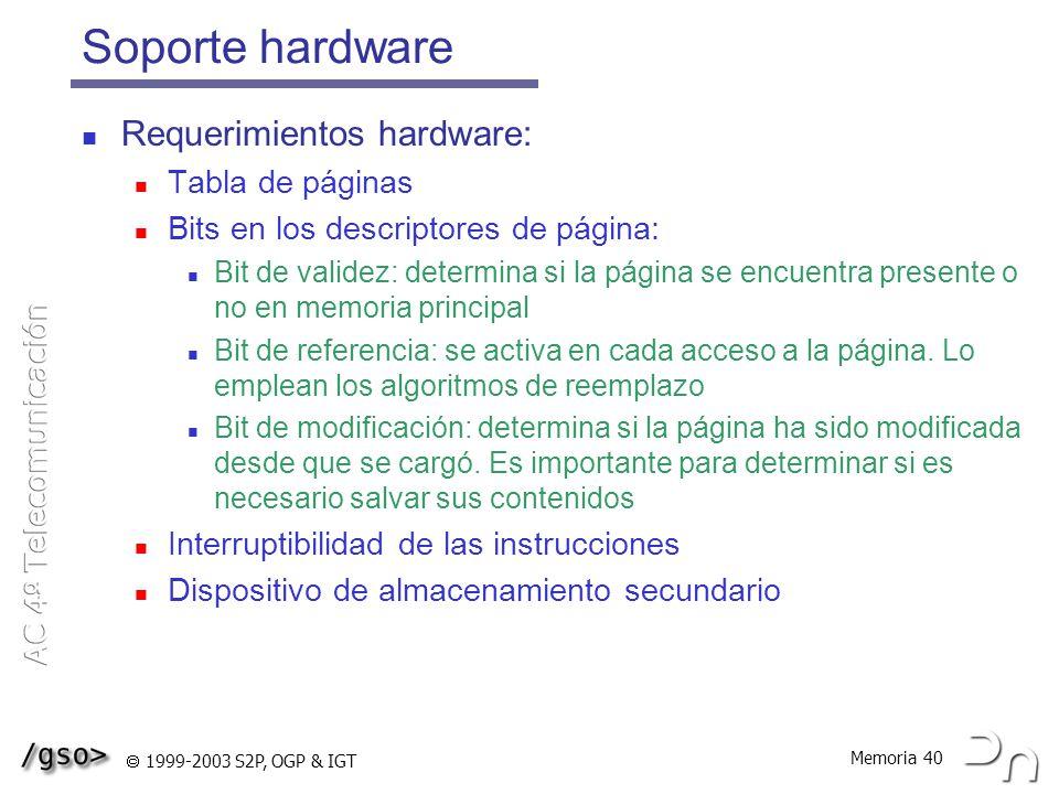Soporte hardware Requerimientos hardware: Tabla de páginas