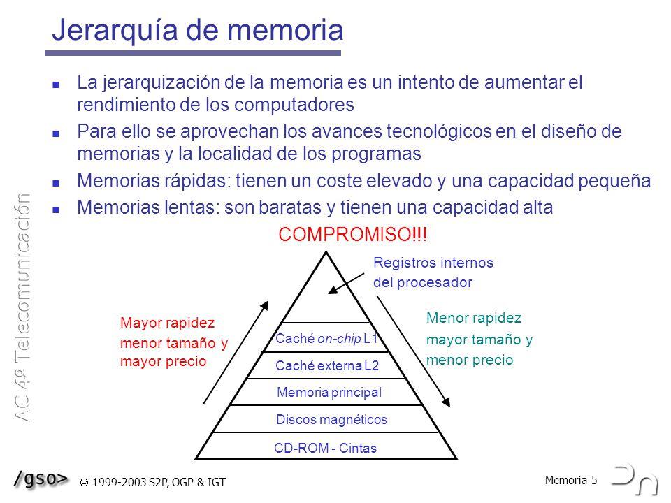 Jerarquía de memoria La jerarquización de la memoria es un intento de aumentar el rendimiento de los computadores.