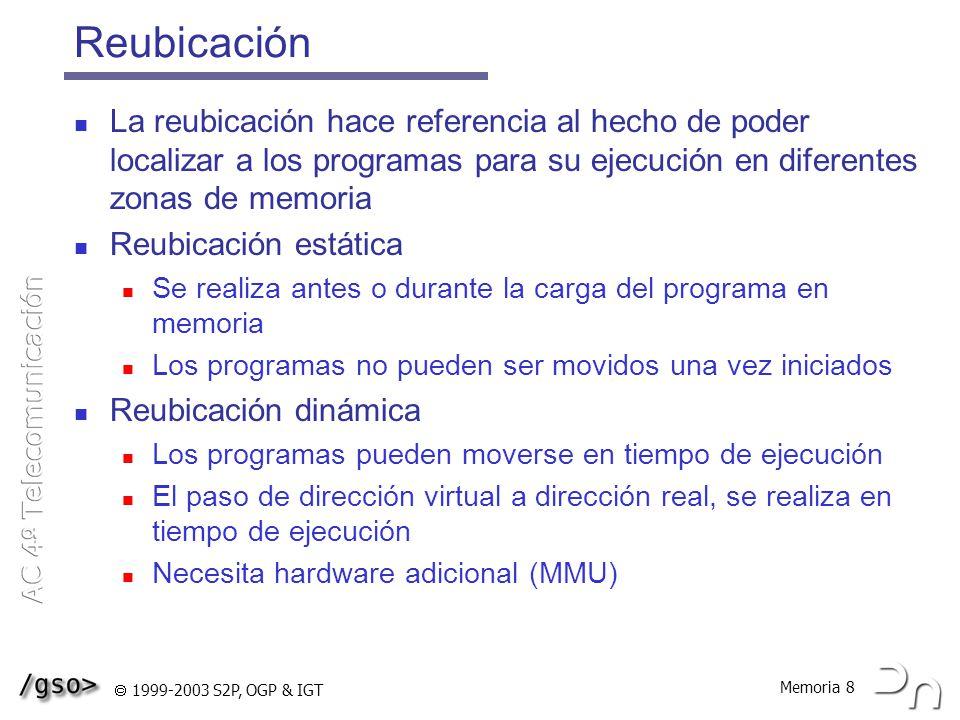 Reubicación La reubicación hace referencia al hecho de poder localizar a los programas para su ejecución en diferentes zonas de memoria.