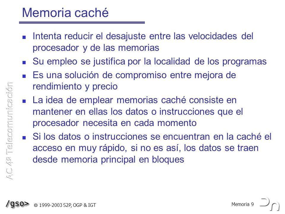 Memoria caché Intenta reducir el desajuste entre las velocidades del procesador y de las memorias.