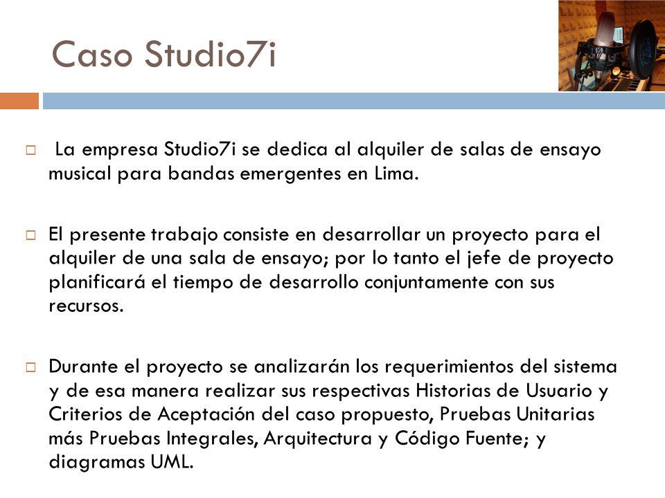 Caso Studio7i La empresa Studio7i se dedica al alquiler de salas de ensayo musical para bandas emergentes en Lima.