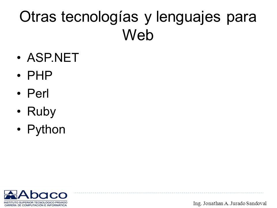 Otras tecnologías y lenguajes para Web