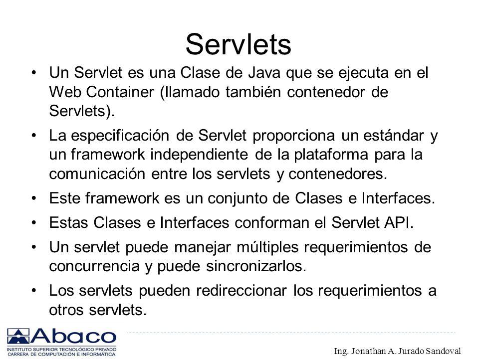 Servlets Un Servlet es una Clase de Java que se ejecuta en el Web Container (llamado también contenedor de Servlets).