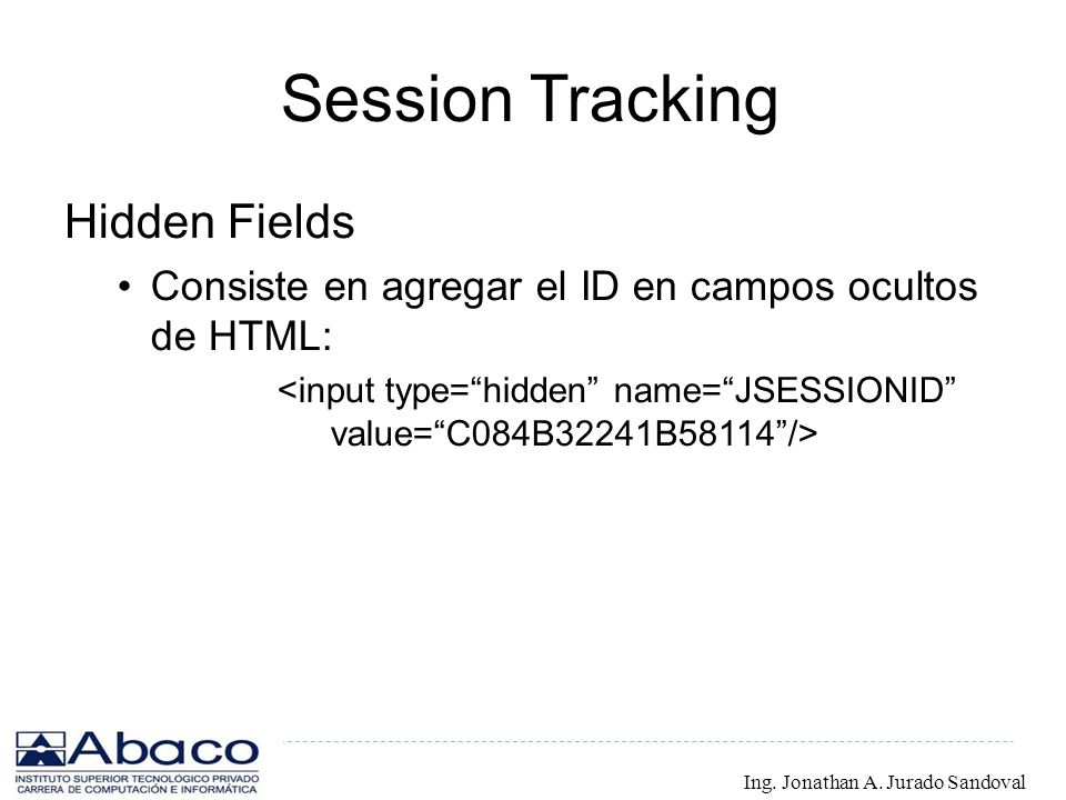 Session Tracking Hidden Fields