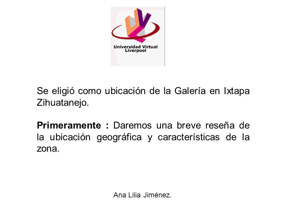 Se eligió como ubicación de la Galería en Ixtapa Zihuatanejo.