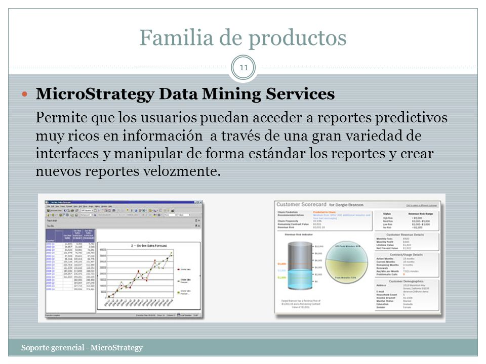 Familia de productos MicroStrategy Data Mining Services