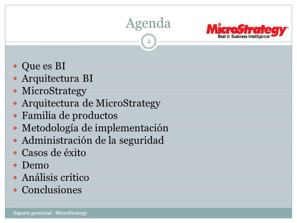 Agenda Que es BI Arquitectura BI MicroStrategy